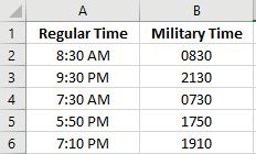 convert regular time to military time in Excel.png